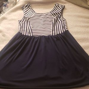 Trixxi  Navy white stripe sailor dress 18